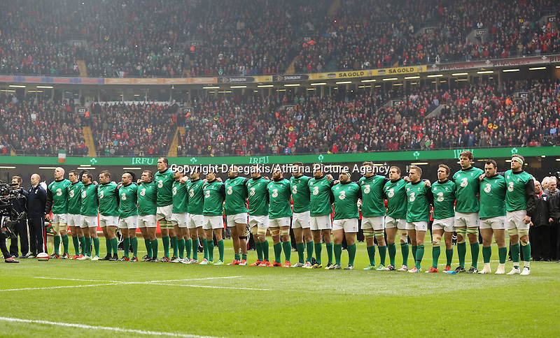 Pictured: The Irish team singing their national anthem Saturday 14 March 2015<br /> Re: RBS Six Nations, Wales v Ireland at the Millennium Stadium, Cardiff, south Wales, UK.