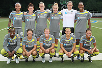The starting eleven for the Philadelphia Independence.  Philadelphia forward, Lianne Sanderson (10) scored in the 90th minute to secure a 2-1 victory for the Independence, in their August 7th game vs Sky Blue at Widener University in Chester, PA