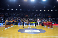 The teams line up for the Cadbury Netball Series Taini Jamison Trophy match between New Zealand Silver Ferns and England Roses at Claudelands Arena in Hamilton, New Zealand on Wednesday, 28 October 2020. Photo: Dave Lintott / lintottphoto.co.nz