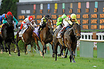 Silver Max (no. 13), ridden by Rafael Bejarano and trained by Dale Romans, wins the 21st running of the grade 2 American Turf Stakes for three year olds on May 04, 2012 at Churchill Downs in Louisville, Kentucky.  (Bob Mayberger/Eclipse Sportswire)