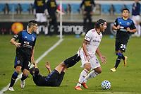 SAN JOSE, CA - OCTOBER 28: Marcelo Silva #30 of Real Salt Lake during a game between Real Salt Lake and San Jose Earthquakes at Earthquakes Stadium on October 28, 2020 in San Jose, California.