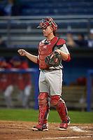 Auburn Doubledays catcher Jakson Reetz (25) during a game against the Batavia Muckdogs on July 8, 2015 at Dwyer Stadium in Batavia, New York.  Batavia defeated Auburn 4-1.  (Mike Janes/Four Seam Images)