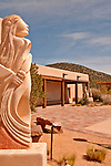 """Sculpture garden at Museum Hill in Santa Fe, New Mexico; sculpture by Rollie Grandbois called """"Prayer for the Future"""""""