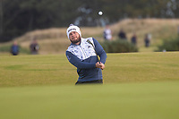 1st October 2021; Kingsbarns Golf Links, Fife, Scotland; European Tour, Alfred Dunhill Links Championship, Second round; Tyrrell Hatton of England chips to the ninth green at Kingsbarns Golf Links