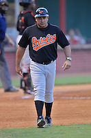 Einar Diaz Manager Bluefield Orioles (Baltimore Orioles) leaves the field after being ejected at Joe O'Brien Stadium August 8, 2009 in Elizabethton, TN. (Photo by Tony Farlow/Four Seam Images)