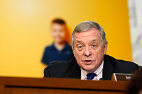 United States Senate Minority Whip Dick Durbin (Democrat of Illinois), speaks as the Senate Judiciary Committee hears from legal experts on the final day of the confirmation hearing for Supreme Court nominee Amy Coney Barrett, on Capitol Hill in Washington, Thursday, Oct. 15, 2020. <br /> Credit: Susan Walsh / Pool via CNP /MediaPunch