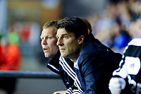 Tuesday, 7 May 2013<br /><br />Pictured: Michael Laudrup, Manager of Swansea City watches the action<br /><br />Re: Barclays Premier League Wigan Athletic v Swansea City FC  at the DW Stadium, Wigan