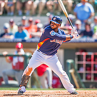 15 March 2016: Houston Astros infielder Luis Valbuena in action during a Spring Training pre-season game against the Washington Nationals at Osceola County Stadium in Kissimmee, Florida. The Astros fell to the Nationals 6-4 in Grapefruit League play. Mandatory Credit: Ed Wolfstein Photo *** RAW (NEF) Image File Available ***