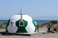 DJIBOUTI , Tadjoura, Turkey financed mosque in football design, NEVKA composite house, yeter and halil mosque  / DSCHIBUTI, Tadjoura, von Tuerkei finanzierte Moschee im Fussball design