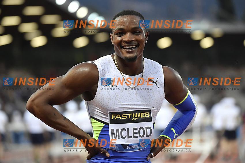 Omar Mcleod of Jamaica reacts after winning the 110m hurdles Men during the Wanda  Diamond League Golden Gala meeting at the Luigi Ridolfi stadium in Florence, Italy, June 10th, 2021. Photo Andrea Staccioli / Insidefoto