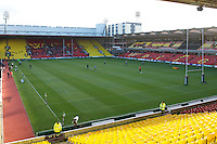 20121216 Copyright onEdition 2012©.Free for editorial use image, please credit: onEdition..General view of the Vicarage Road stadium before the Heineken Cup Round 4 match between Saracens and Munster Rugby at Vicarage Road on Sunday 16th December 2012 (Photo by Rob Munro)..For press contacts contact: Sam Feasey at brandRapport on M: +44 (0)7717 757114 E: SFeasey@brand-rapport.com..If you require a higher resolution image or you have any other onEdition photographic enquiries, please contact onEdition on 0845 900 2 900 or email info@onEdition.com.This image is copyright onEdition 2012©..This image has been supplied by onEdition and must be credited onEdition. The author is asserting his full Moral rights in relation to the publication of this image. Rights for onward transmission of any image or file is not granted or implied. Changing or deleting Copyright information is illegal as specified in the Copyright, Design and Patents Act 1988. If you are in any way unsure of your right to publish this image please contact onEdition on 0845 900 2 900 or email info@onEdition.com