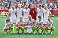 Members of United States' team before group D Women's World Cup Soccer match, Monday June 08, 2015 in Winnipeg, Manitoba. (Mo Khursheed/TFV Media via AP Images)