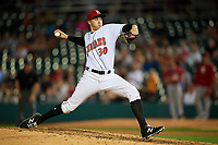 Indianapolis Indians relief pitcher Dovydas Neverauskas (30) delivers a pitch during a game against the Rochester Red Wings on July 24, 2018 at Victory Field in Indianapolis, Indiana.  Rochester defeated Indianapolis 2-0.  (Mike Janes/Four Seam Images)