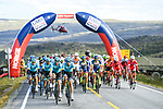 The peloton led by Astana Pro Team during Stage 3 of the 2018 Artic Race of Norway, running 194km from Honningsvg to Hammerfest, Norway. 18th August 2018. <br /> <br /> Picture: ASO/Pauline Ballet | Cyclefile<br /> All photos usage must carry mandatory copyright credit (© Cyclefile | ASO/Pauline Ballet)