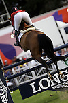 August 07, 2009: Beezie Madden (USA) aboard Danny Boy clears the 4th fence. Meydan FEI Nations Cup. Failte Ireland Horse Show. The RDS, Dublin, Ireland.