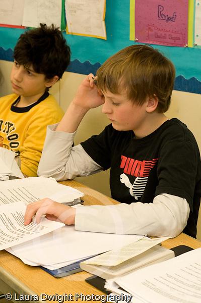 Public Middle School Grade 7 english humanities class  vertical