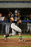 Bristol Pirates center fielder Jonah Davis (14) follows through on a swing during the second game of a doubleheader against the Bluefield Blue Jays on July 25, 2018 at Bowen Field in Bluefield, Virginia.  Bristol defeated Bluefield 5-2.  (Mike Janes/Four Seam Images)