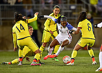 East Hartford, Conn. - April 6, 2016: The U.S. Women's National team go up 1-0 over Colombia on a Crystal Dunn goal during first half play in an international friendly match at Pratt & Whitney Stadium.
