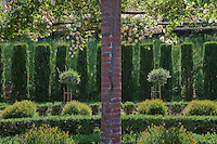 A brick pergola is covered with a sprawling 'Claire Jacquier' climbing rose contrasting with a regimented row of clipped cypress trees and other planting