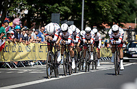 Team Trek Segafredo during their first Km.<br /> <br /> Stage 3 (Team Time Trial): Cholet > Cholet (35km)<br /> <br /> 105th Tour de France 2018<br /> ©kramon