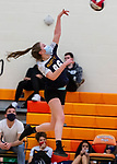 PLYMOUTH, CT-111020JS13 —Wolcott Tech's Rachel Heaney (86) spikes the ball during their match against Terryville Tuesday at Terryville High School. <br /> Jim Shannon Republican-American