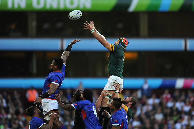Victor Matfield of South Africa outjumps Ofisa Treviranus of Samoa in the lineout during Match 15 of the Rugby World Cup 2015 between South Africa and Samoa - 26/09/2015 - Villa Park, Birmingham<br /> Mandatory Credit: Rob Munro/Stewart Communications