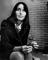 Joan Baez, whose folk-singing has made her famous, is a hippy. She runs a school for non-violence in Carmel, Cal. Drugs, she says, are a crutch that hippies should not use.<br /> <br /> <br /> Philp, Barry<br /> Picture, 1967,- Toronto Star Archives - AQP