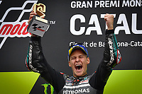 27th September 2020, Circuit de Barcelona Catalunya, Barcelona, MotoGp of Catalunya, Race Day;  Fabio Quartararo FRA celebrates on the podium
