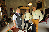 Nigel (R) and Katharine Hope (C) are given a tour by Rodney Webb (L) Tredegar House, which is leased by The National Trust in the outskirts of Newport, south Wales. Thursday 25 August 2016