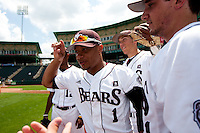Keenen Maddox (1) of the Missouri State Bears leads the team onto the field during a game against the Evansville Purple Aces at Hammons Field on May 12, 2012 in Springfield, Missouri. (David Welker/Four Seam Images)