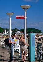 Deutschland.  Strand von Travemünde, Automat für Kurtaxe