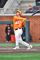 Tennessee Volunteers third baseman Andre Lipcius (13) swings at a pitch during a game against the Appalachian State Mountaineers at Lindsey Nelson Stadium on February 16, 2019 in Knoxville, Tennessee. The Volunteers defeated Mountaineers 2-0. (Tony Farlow/Four Seam Images)