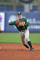 Siena Saints infielder Jordan Bishop (4) attempts to turn a double play during the second game of a doubleheader against the Michigan Wolverines on February 27, 2015 at Tradition Field in St. Lucie, Florida.  Michigan defeated Siena 6-0.  (Mike Janes/Four Seam Images)