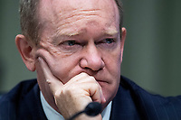 """United States Senator Chris Coons (Democrat of Delaware), is seen during the US Senate Judiciary Committee hearing titled """"Examining Best Practices for Incarceration and Detention During COVID-19,"""" in Dirksen Building in Washington, D.C. on Tuesday, June 2, 2020.<br /> Credit: Tom Williams / Pool via CNP/AdMedia"""