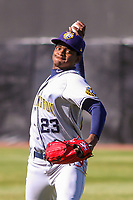 Burlington Bees pitcher Jose Soriano (23) warms up in the outfield prior to a Midwest League game against the Wisconsin Timber Rattlers on April 26, 2019 at Fox Cities Stadium in Appleton, Wisconsin. Wisconsin defeated Burlington 2-0. (Brad Krause/Four Seam Images)