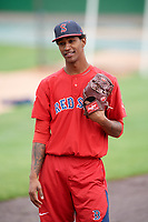Salem Red Sox pitcher Gerson Bautista (23) during practice before the first game of a doubleheader against the Potomac Nationals on May 13, 2017 at G. Richard Pfitzner Stadium in Woodbridge, Virginia.  Potomac defeated Salem 6-0.  (Mike Janes/Four Seam Images)