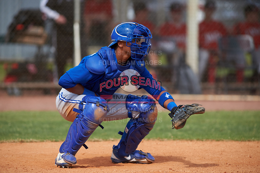 Toronto Blue Jays catcher Kyle Huckaby (35) during an exhibition game against the Canada Junior National Team on March 8, 2020 at Baseball City in St. Petersburg, Florida.  (Mike Janes/Four Seam Images)