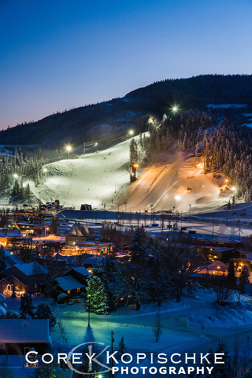 Historic Howelsen Hill is lit up for afternoon skiing in downtown Steamboat Springs Colorado.