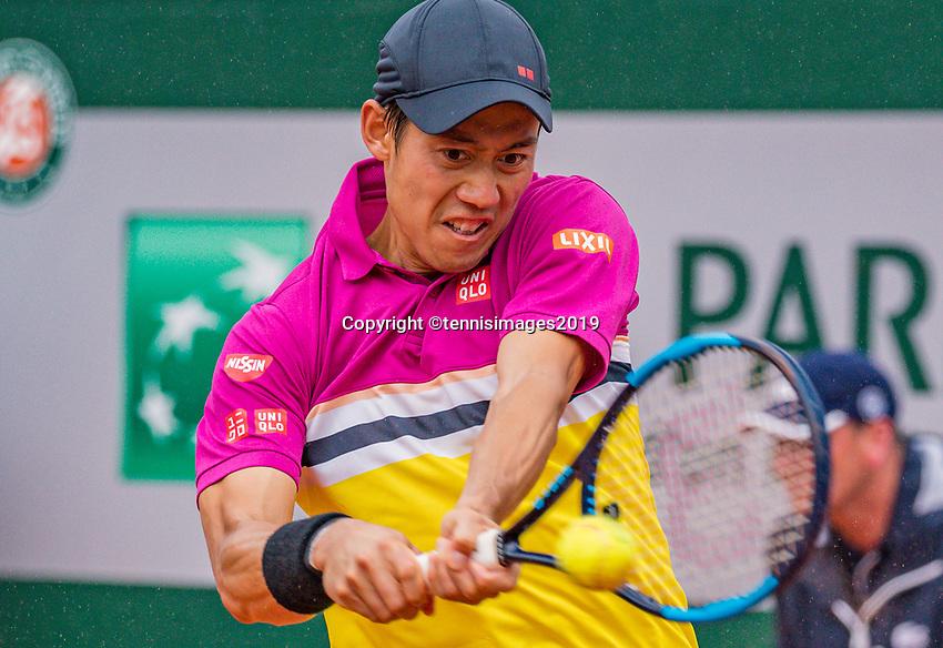 Paris, France, 3 june, 2019, Tennis, French Open, Roland Garros, Kei Nishikori (JPN)<br /> Photo: Henk Koster/tennisimages.com