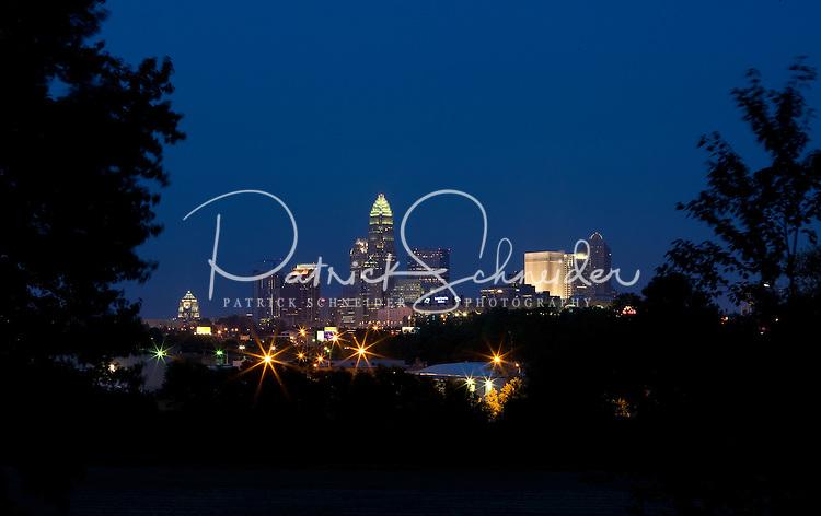 Charlotte, NC, makes a striking skyline at dusk.