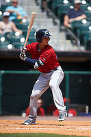 Columbus Clippers third baseman Zach Walters (27) at bat during a game against the Buffalo Bisons on July 19, 2015 at Coca-Cola Field in Buffalo, New York.  Buffalo defeated Columbus 4-3 in twelve innings.  (Mike Janes/Four Seam Images)