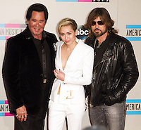 LOS ANGELES, CA - NOVEMBER 24: Wayne Newton, Miley Cyrus, Billy Ray Cyrus arriving at the 2013 American Music Awards held at Nokia Theatre L.A. Live on November 24, 2013 in Los Angeles, California. (Photo by Celebrity Monitor)