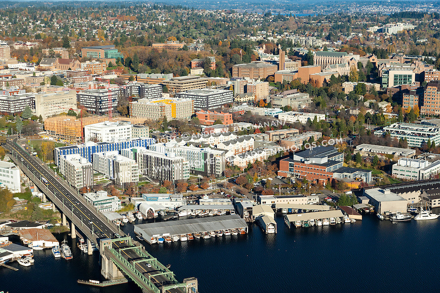Aerial photo of the University of Washington campus, including Mercer Court Apartments