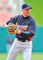 2 April 2011: Atlanta Braves third baseman Chipper Jones warms up prior to a game against the Washington Nationals at Nationals Park in Washington, District of Columbia. The Nationals defeated the Braves 6-3 in the second game of their season opening series. Mandatory Credit: Ed Wolfstein Photo