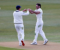 Grant Stewart (R) of Kent is congratulated after taking the wicket of Tom Kohler-Cadmore during Kent CCC vs Yorkshire CCC, LV Insurance County Championship Group 3 Cricket at The Spitfire Ground on 17th April 2021