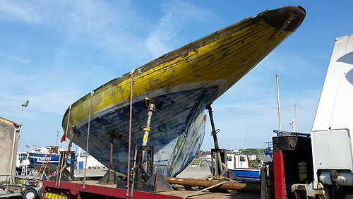 A daunting prospect – Naneen (built Dun Laoghaire/Kingstown in 1905) arrives pre-restoration in Kilrush