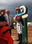 September 27 2014:Jockey, Victor Espinoza after winning the FrontRunner Stakes at Santa Anita Park in Arcadia CA. Alex Evers/ESW/CSM