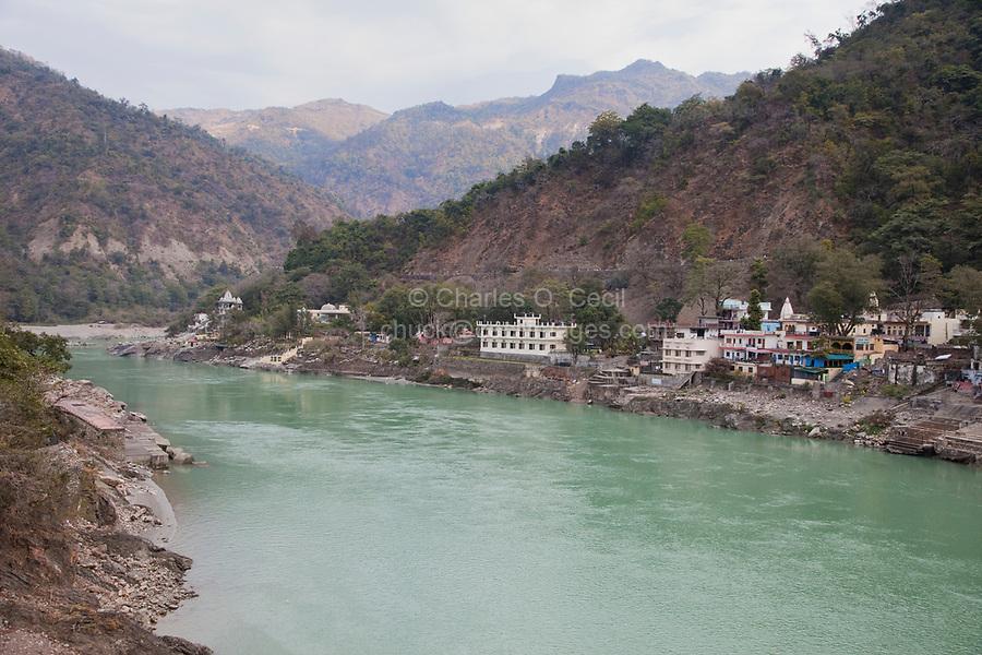 India, Rishikesh.  Ganges (Ganga) River looking upstream toward the Himalayas.