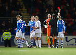 St Johnstone v Hibs..28.11.12      SPL.Dave Mackay is sent off by ref Craig Thomson.Picture by Graeme Hart..Copyright Perthshire Picture Agency.Tel: 01738 623350  Mobile: 07990 594431