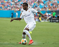 CHARLOTTE, NC - JULY 20: Christian Koffi #27 during a game between ACF Fiorentina and Arsenal at Bank of America Stadium on July 20, 2019 in Charlotte, North Carolina.